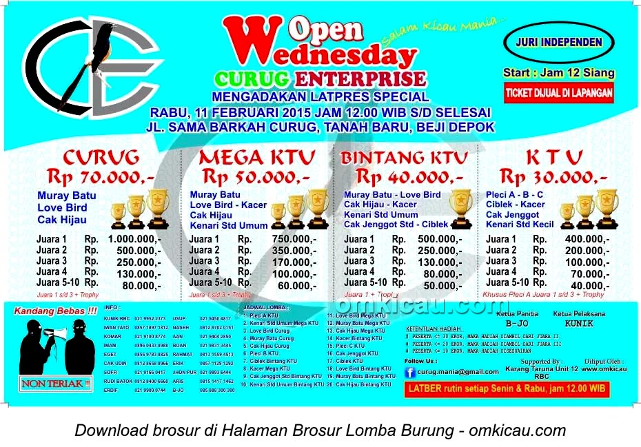 Brosur Lomba Burung Wednesday Open Curug Enterprise, Depok, 11 Februari 2015