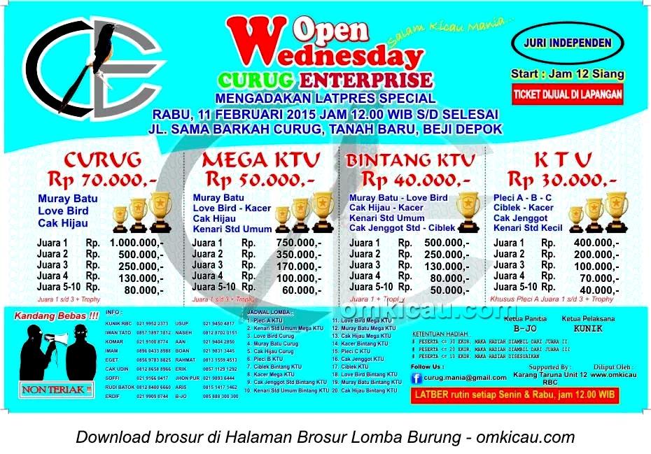 Brosur Lomba Burung Wednesday Open Curug Enterprise, Depok, 11 Februari 2015