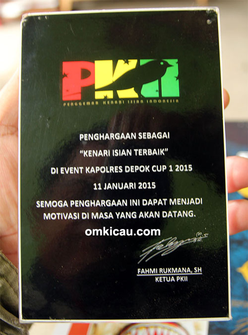 Plakat penghargaan PKII