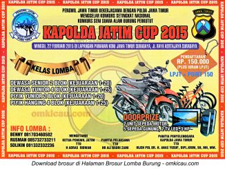 Brosur Konkurs Burung Perkutut Kapolda Jatim Cup, Surabaya, 22 Februari 2015