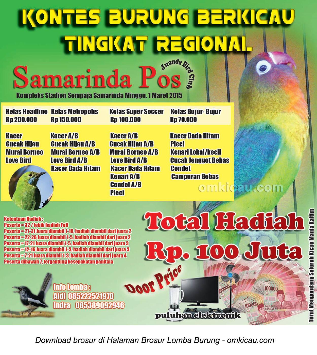 Brosur Kontes Burung Berkicau Samarinda Pos, Samarinda, 1 Maret 2015
