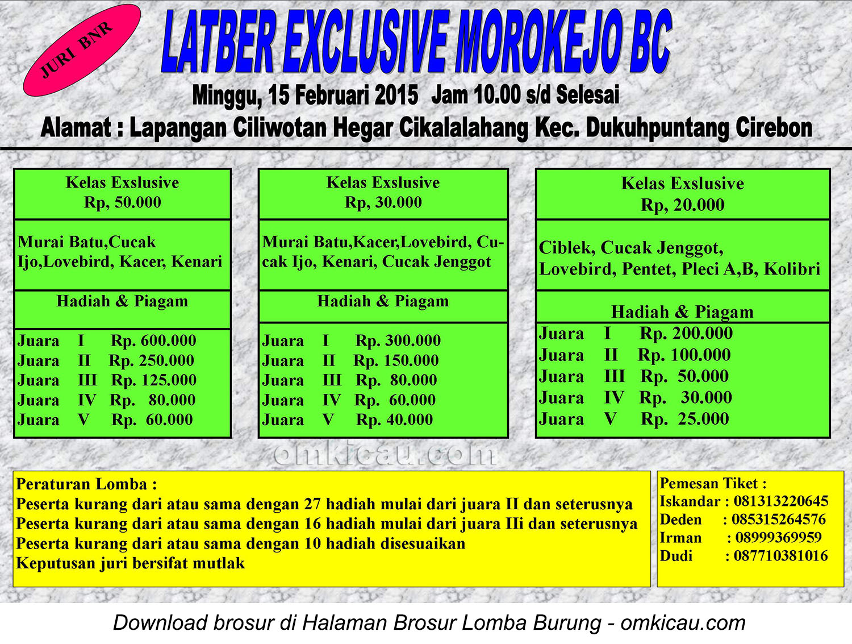 Brosur Latber Exclusive Morokejo BC, Cirebon, 15 Februari 2015