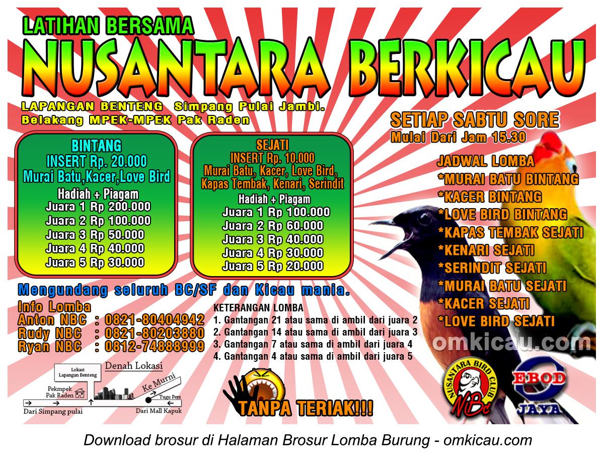 Brosur Latber Nusantara Berkicau, Jambi, setiap Sabtu sore