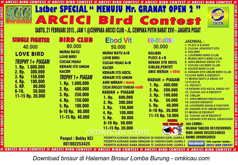 Brosur Latber Special Menuju Mr Granat Open 2, Jakarta, 21 Februari 2015