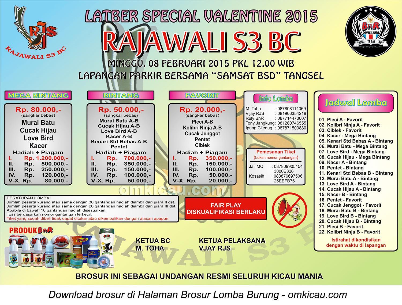 Brosur Latber Special Valentine Rajawali S3 BC, Tangerang Selatan, 8 Februari 2015