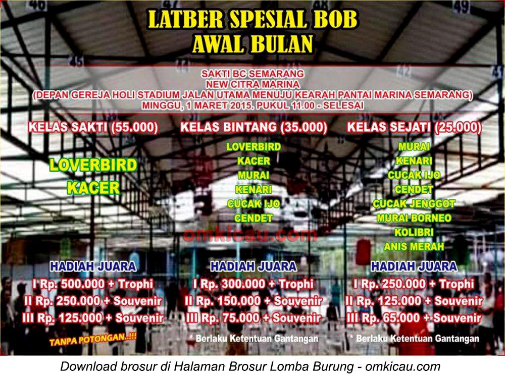 Brosur Latber Spesial BOB Sakti BC, Semarang, 1 Maret 2015
