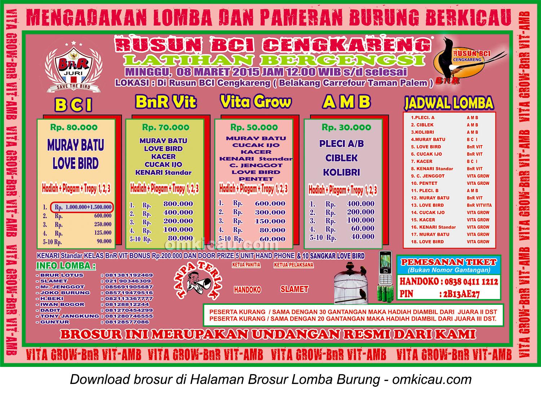Brosur Latihan Bergengsi Rusun BCI Cengkareng, Jakarta Barat, 8 Maret 2015