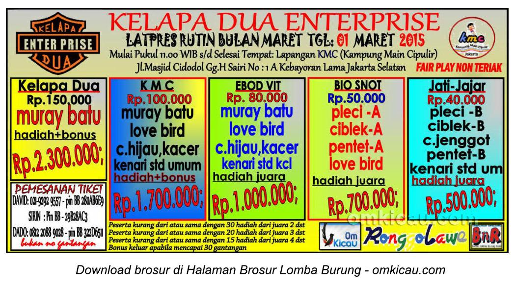 Brosur Latpres Burung Berkicau Kelapa Dua Enterprise, Jakarta Selatan, 1 Maret 2015