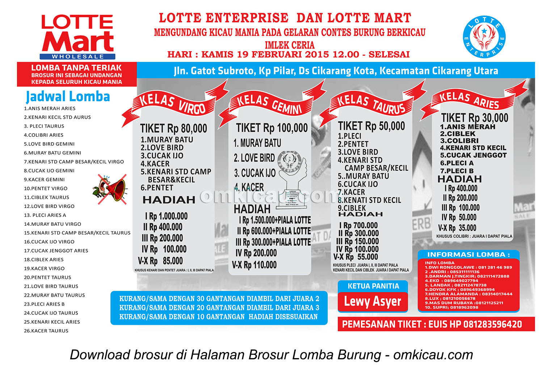 Brosur Latpres Burung Berkicau Lotte Enterprise, Cikarang, 19 Februari 2015