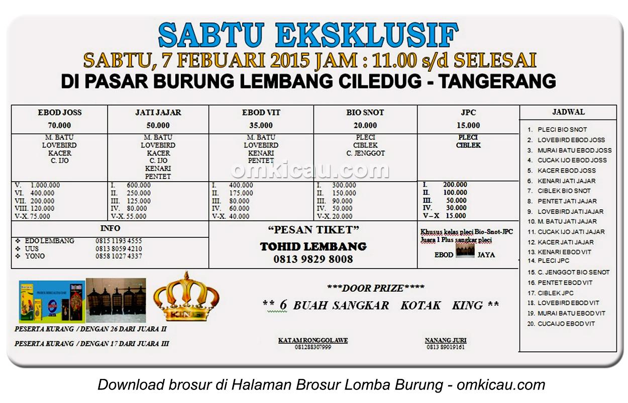 Brosur Latpres Sabtu Eksklusif PB Lembang Cileduk, Tangerang, 7 Februari 2015
