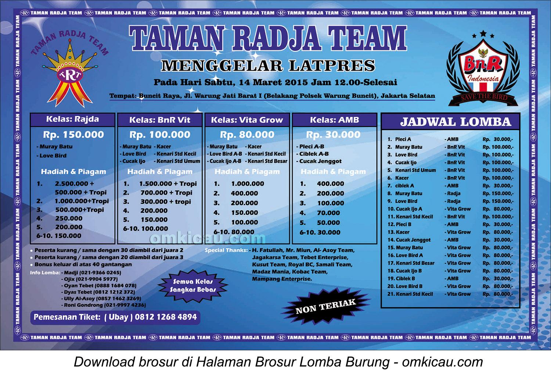 Brosur Latpres Taman Radja Team, Jakarta Selatan, 14 Maret 2015
