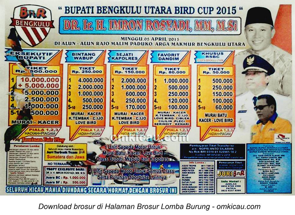 Brosur Lomba Bupati Bengkulu Utara Bird Cup, 5 April 2015