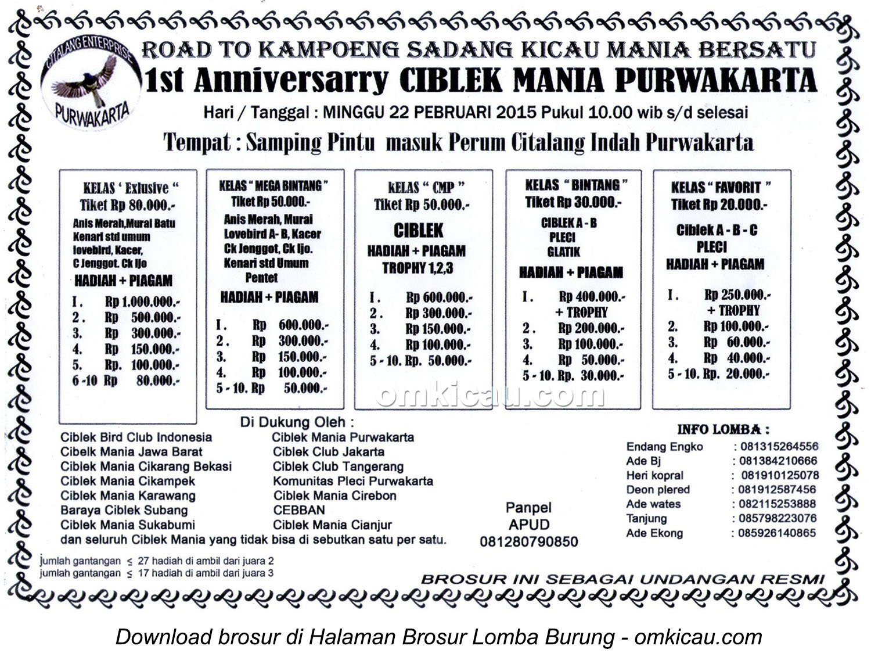 Brosur Lomba Burung 1st Anniversary Ciblek Mania Purwakarta, 22 Februari 2015