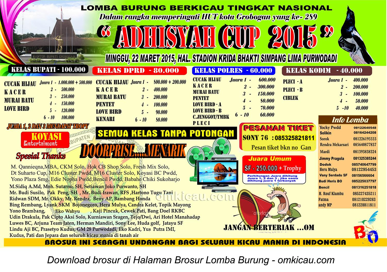 Brosur Lomba Burung Adhisyah Cup, Purwodadi, 22 Maret 2015