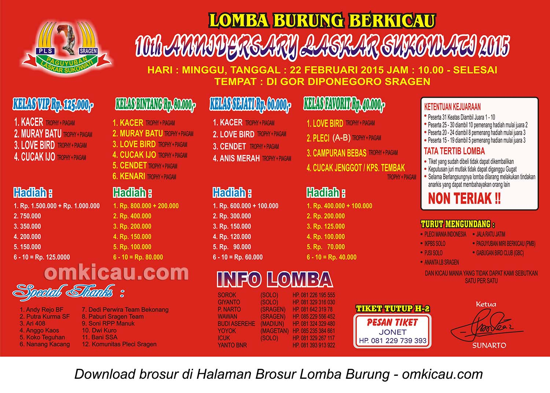 Brosur Lomba Burung Berkicau 10th Anniversary Laskar Sukowati, Sragen, 22 Februari 2015