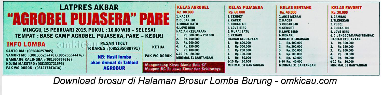 Brosur Lomba Burung Berkicau Agrobel Pujasera Pare, Kediri, 15 Februari 2015