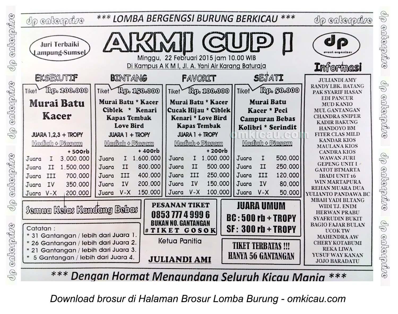 Brosur Lomba Burung Berkicau AKMI Cup I, Baturaja, 22 Februari 2015