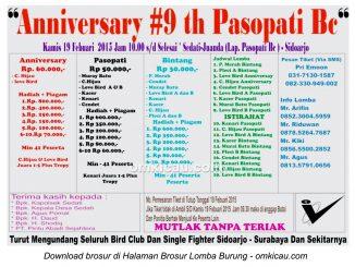 Brosur Lomba Burung Berkicau Anniversary 9th Pasopati BC, Sidoarjo, 19 Februari 2015