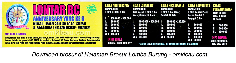 Brosur Lomba Burung Berkicau Anniversary Ke-6 Lontar BC, Surabaya, 1 Maret 2015