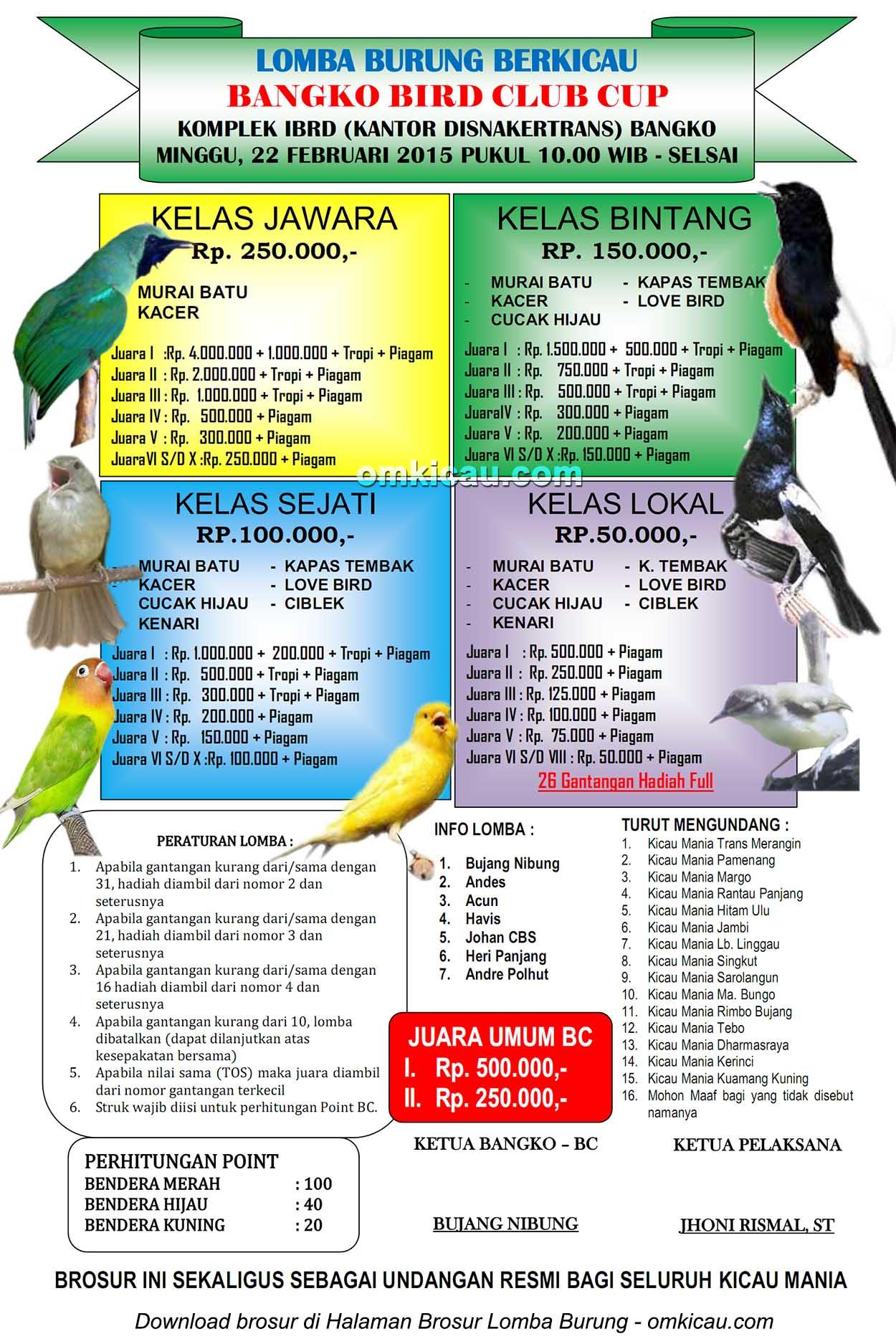 Brosur Lomba Burung Berkicau Bangko Bird Club Cup, Bangko, 22 Februari 2015