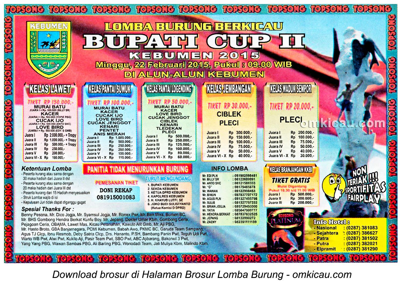Brosur Lomba Burung Berkicau Bupati Cup II, Kebumen, 22 Februari 2015