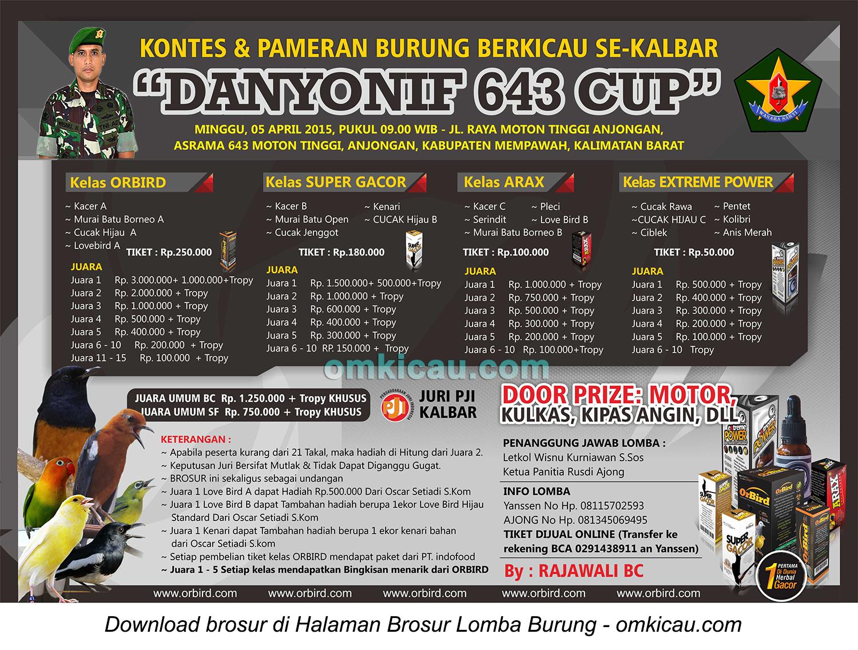 Brosur Lomba Burung Berkicau Danyonif 643 Cup, Mempawah, 5 April 2015