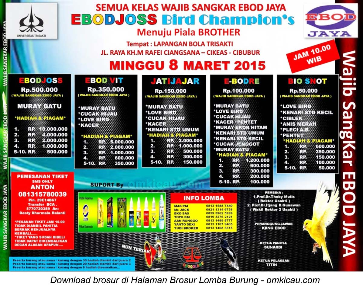 Brosur Lomba Burung Berkicau Ebodjoss Bird Champion's, Cibubur, 8 Maret 2015