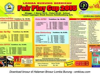 Brosur Lomba Burung Berkicau FairPlay Cup, Solo, 1 Maret 2015