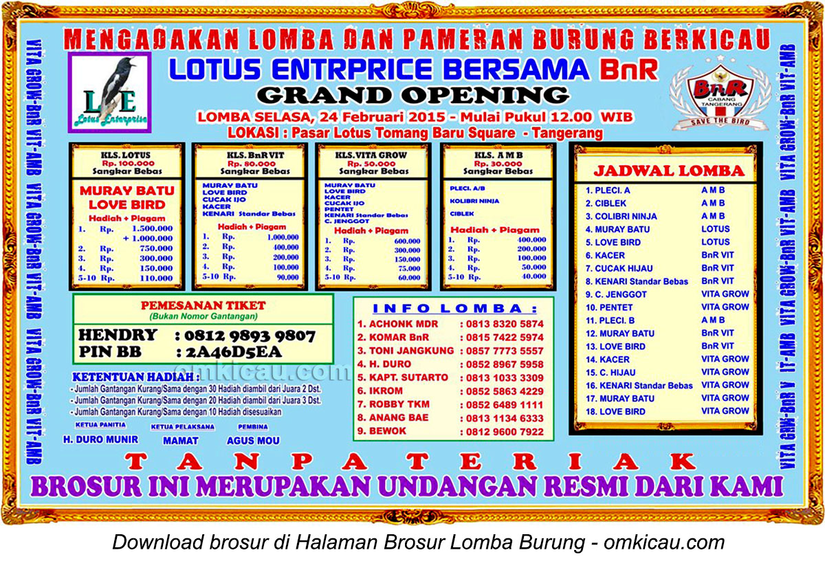 Brosur Lomba Burung Berkicau Grand Opening Lotus Enterprise, Tangerang, 24 Februari 2015