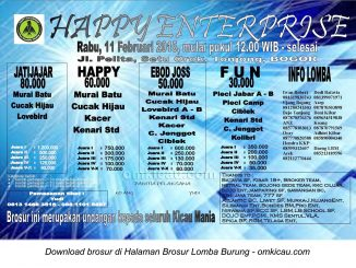 Brosur Lomba Burung Berkicau Happy Enterprise, Bogor, 11 Februari 2015