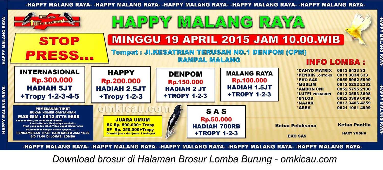 Brosur Lomba Burung Berkicau Happy Malang Raya, Malang, 19 April 2015