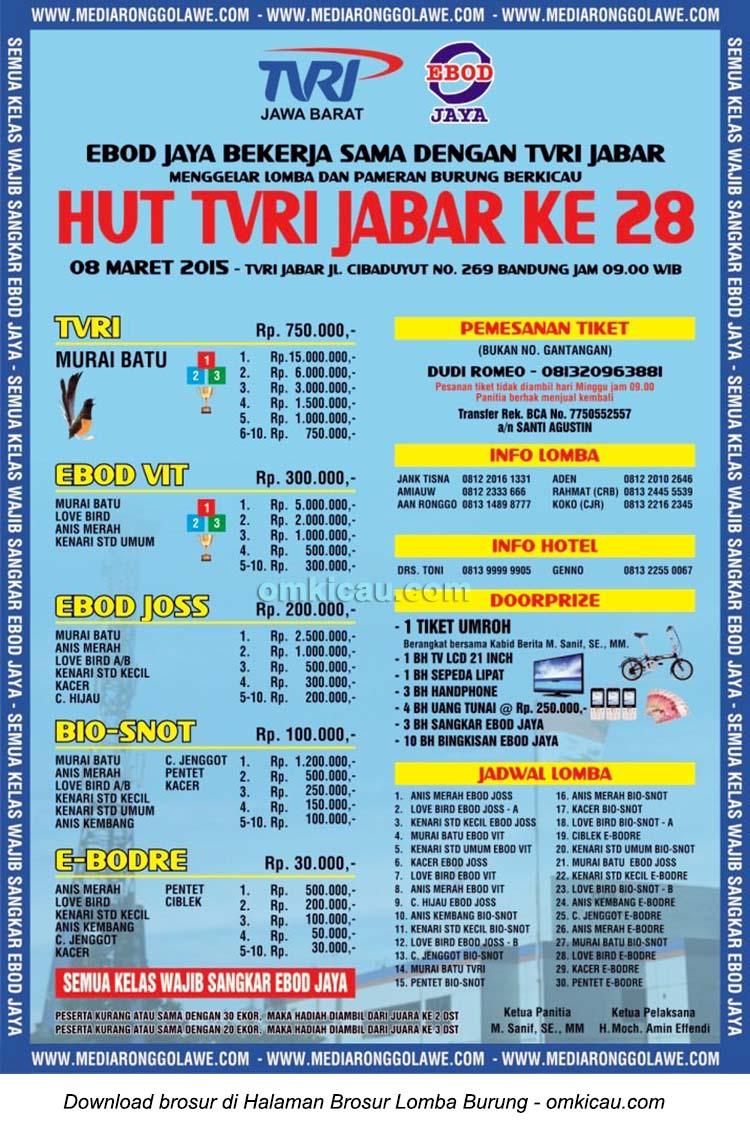 Brosur Lomba Burung Berkicau HUT Ke-28 TVRI Jabar, Bandung, 8 Maret 2015