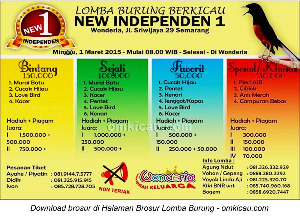 Brosur Lomba Burung Berkicau Independen 1, Semarang, 1 Maret 2015