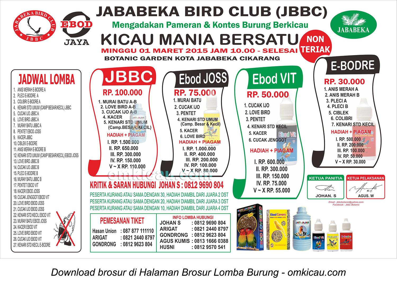 Brosur Lomba Burung Berkicau Jababeka BC, Cikarang, 1 Maret 2015