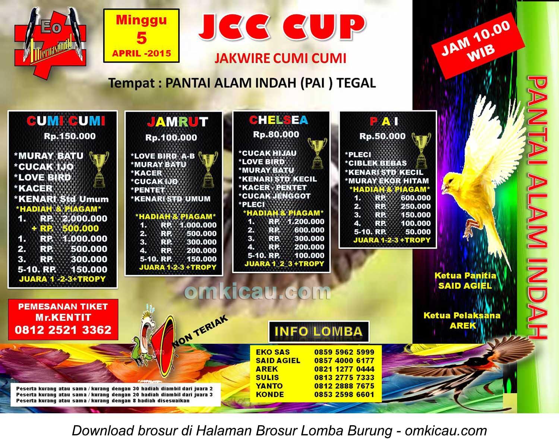 Brosur Lomba Burung Berkicau JCC Cup, Tegal, 5 April 2015