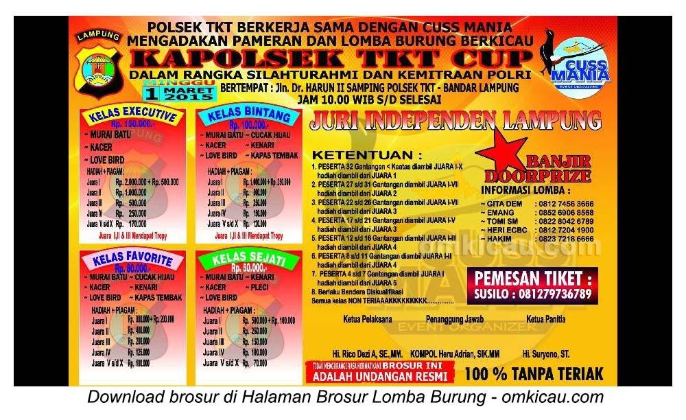Brosur Lomba Burung Berkicau Kapolsek TKT Cup, Bandar Lampung, 1 Maret 2015