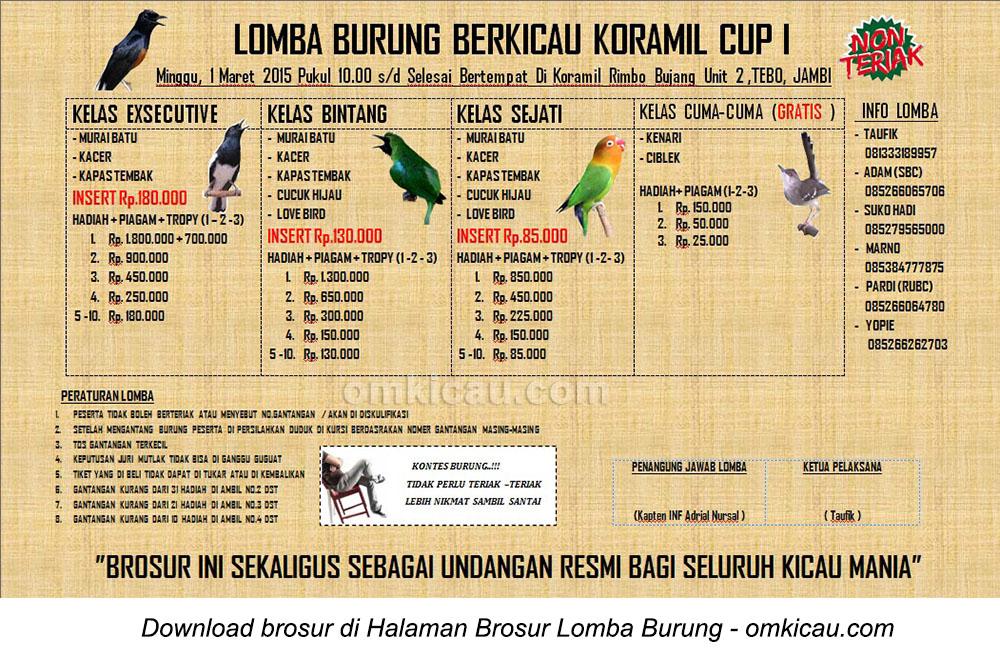 Brosur Lomba Burung Berkicau Koramil Cup I, Tebo-Jambi, 1 Maret 2015