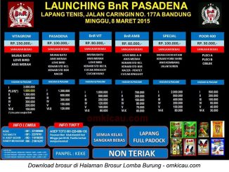 Brosur Lomba Burung Berkicau Launching BnR Pasadena, Bandung, 8 Maret 2015