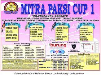 Brosur Lomba Burung Berkicau Mitra Paksi Cup 1, Tulungagung, 15 Maret 2015