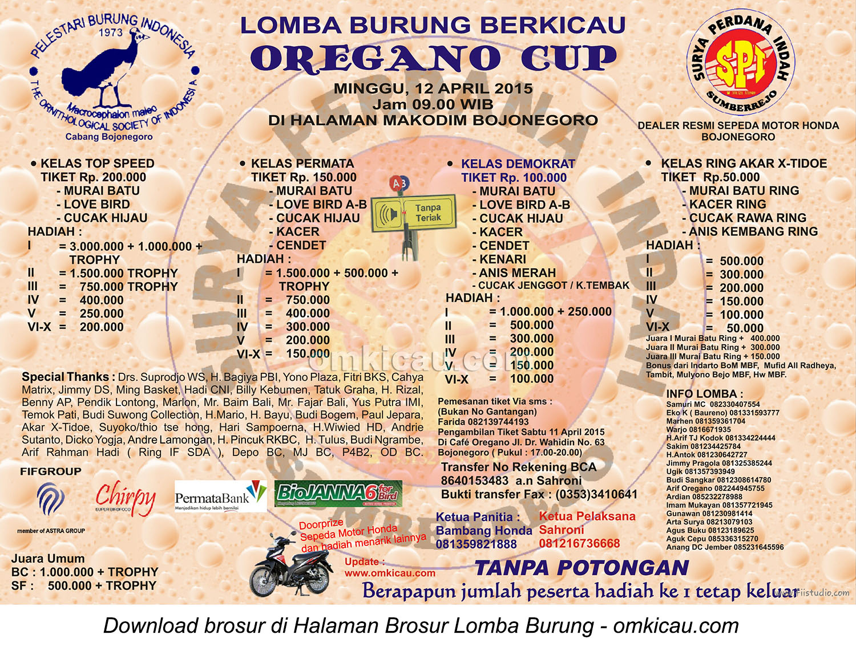 Brosur Lomba Burung Berkicau Oregano Cup, Bojonegoro, 12 April 2015