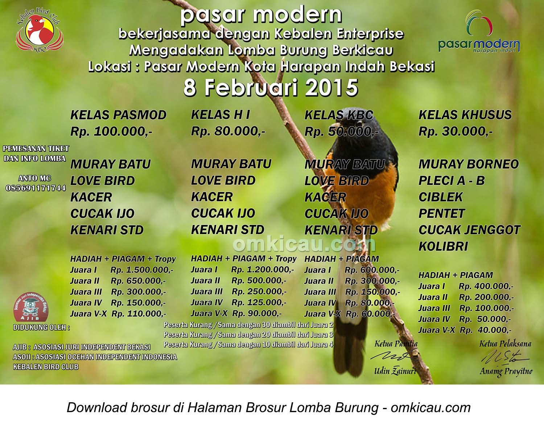 Brosur Lomba Burung Berkicau Pasar Modern Harapan Indah, Bekasi, 8 Februari 2015