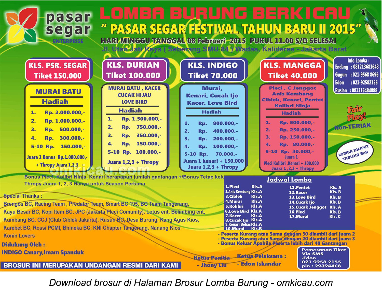 Brosur Lomba Burung Berkicau Pasar Segar Festival II, Jakarta Barat, 8 Februari 2015