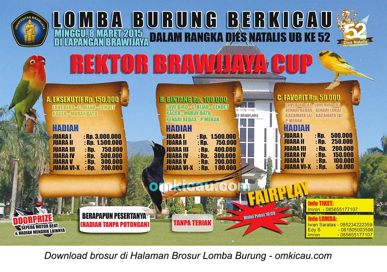 Brosur Lomba Burung Berkicau Rektor Brawijaya Cup, Malang, 8 Maret 2015