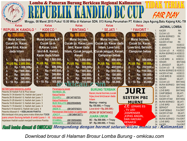 Brosur Lomba Burung Berkicau Republik Kandilo BC Cup, Batu Kajang, 8 Maret 2015