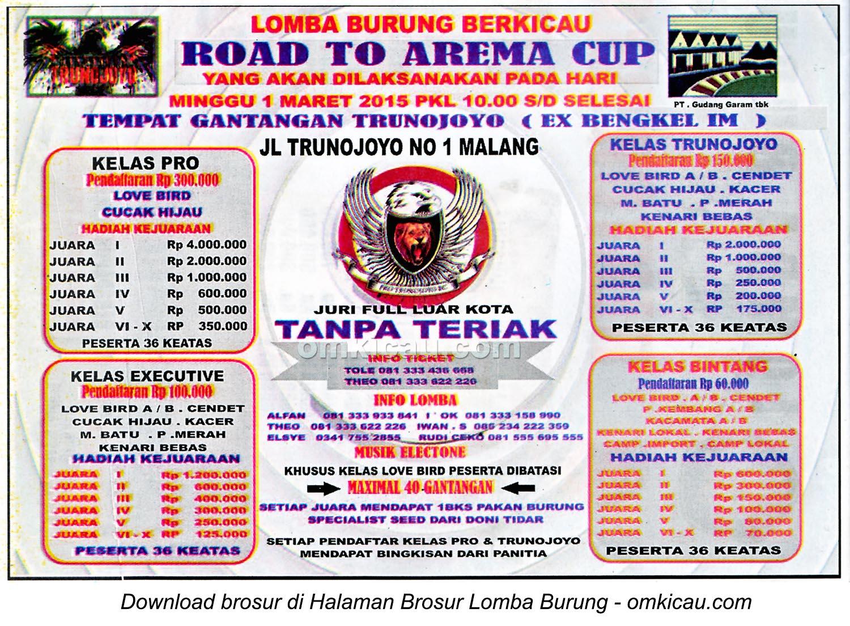 Brosur Lomba Burung Berkicau Road to Arema Cup, Malang, 1 Maret 2015