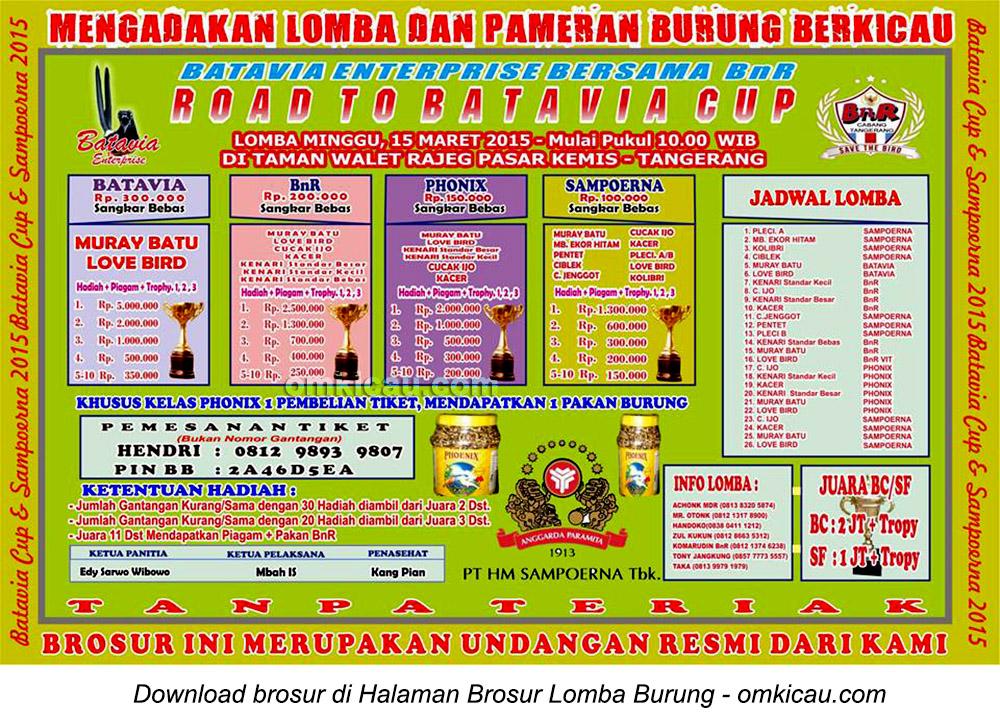 Brosur Lomba Burung Berkicau Road to Batavia Cup, Tangerang, 15 Maret 2015