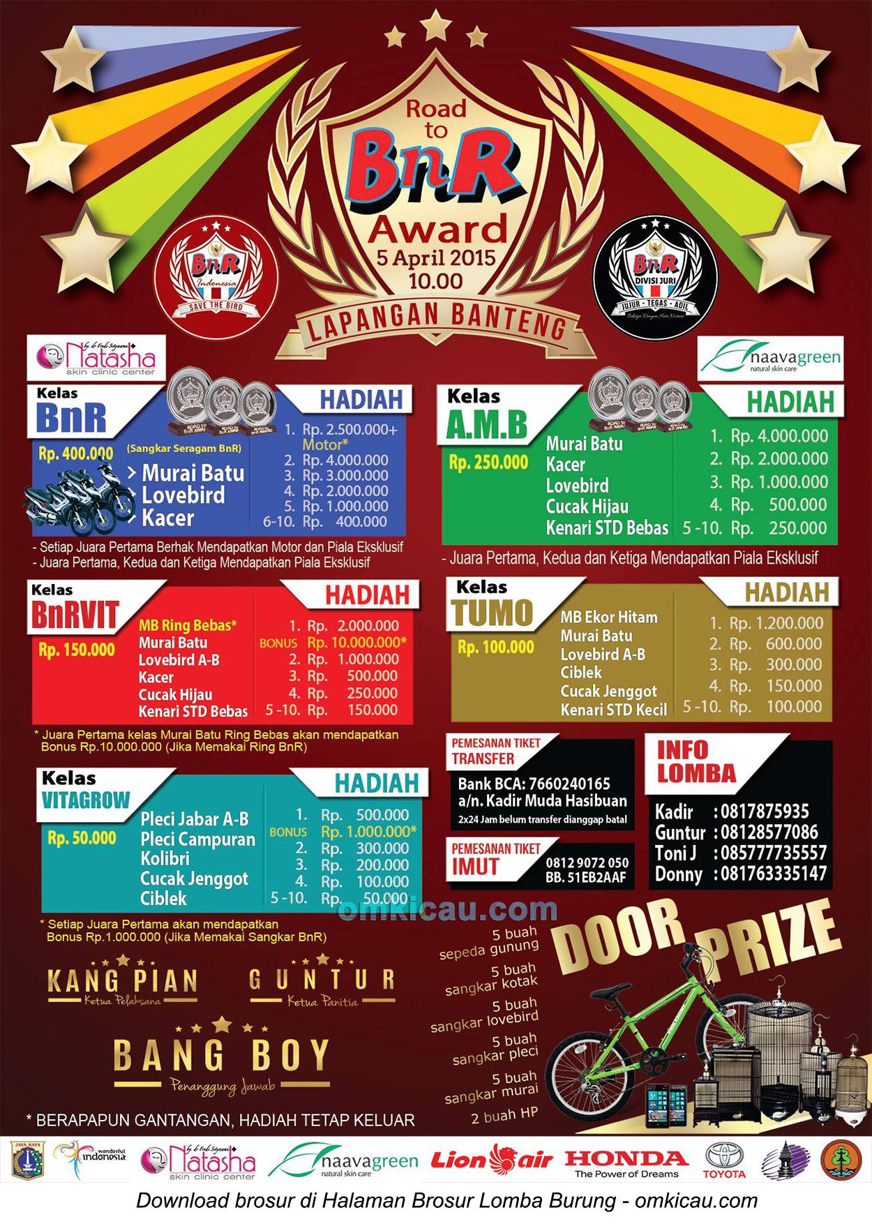 Brosur Lomba Burung Berkicau Road to BnR Award, Jakarta, 5 April 2015