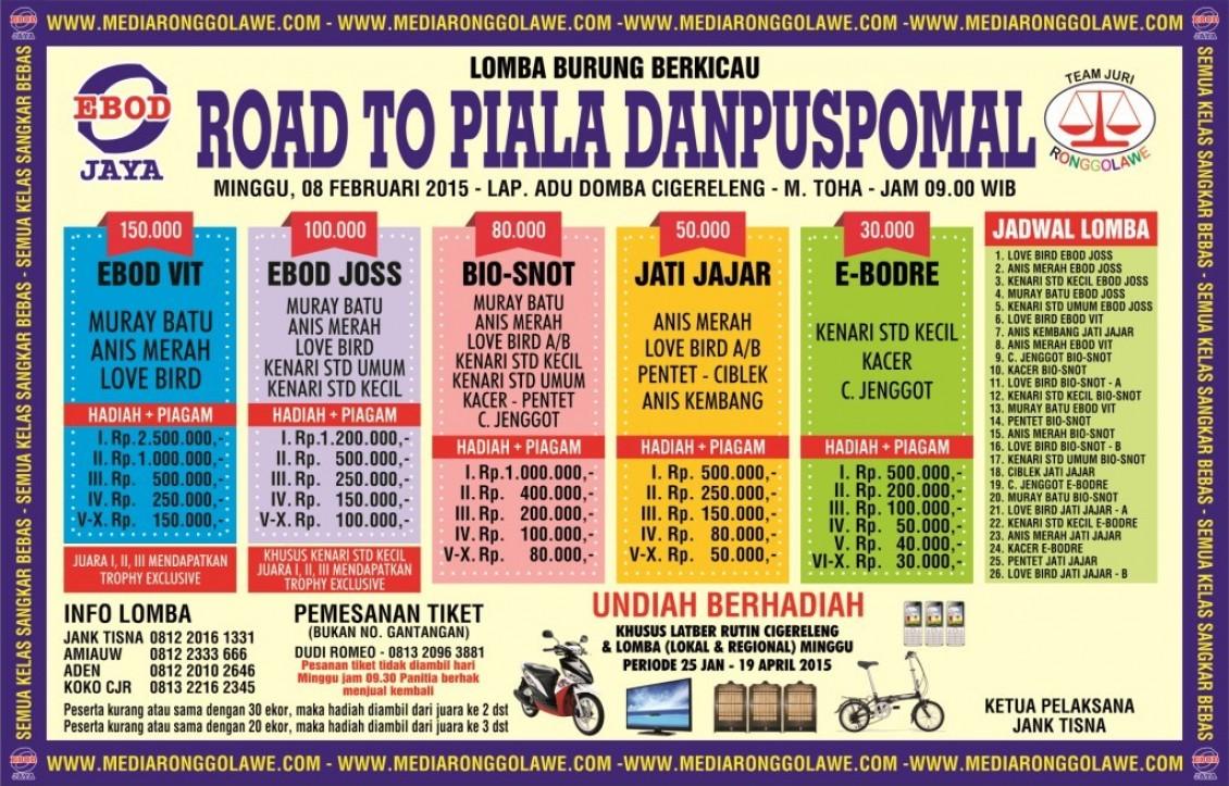 Brosur Lomba Burung Berkicau Road to Piala Danpuspomal, Bandung, 8 Februari 2015