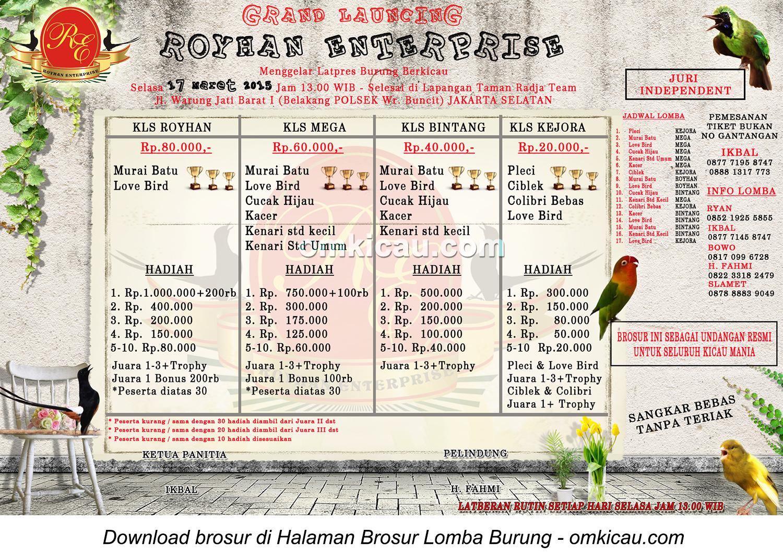 Brosur Lomba Burung Berkicau Royhan Enterprise, Jakarta Selatan, 17 Maret 2015