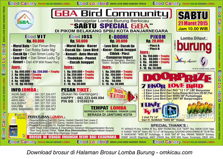 Brosur Lomba Burung Berkicau Sabtu Special GBA, Banjarnegara, 21 Maret 2015